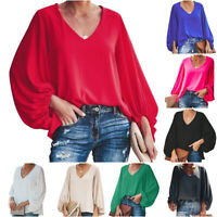 Damen Fledermaus Langarm Einfarbig T-Shirt Bluse V-Ausschnitt Oberteil Übergröße