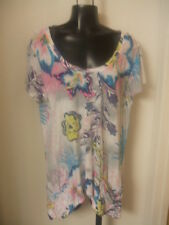 Fresh Produce XL Cabana Bright Floral Twin Peaks Top Cut Out NWT Cotton Beach