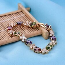 Multi-color Gold Filled Fit Charm Swarovski Crystal Lady Chain Gift Bracelets