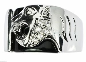 Onyx Panther Men's Ring Russian Cz Accents Rhodium Overlay Size 11 T6