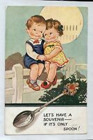D1177ryt Cute Let's Have a Souvenir If its Only a Spoon Children c1942 postcard