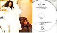 JOHN LENNON / YOKO ONO Unfinished Music No. 2 Life With... 2016 UK promo test CD