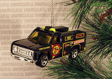 BIO-HAZARD REMOVAL AMBULANCE FIRE TRUCK BLACK YELLOW CHRISTMAS ORNAMENT XMAS