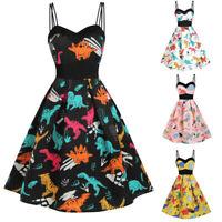 Fashion Women Casual Sleeveless Vintage Dinosaur Cami Empire Waist Swing Dress