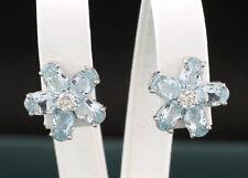 blautopas-brillant-ohrstecker forma a fiore 3,86 CT ORO BIANCO 750 VALORE NUOVO