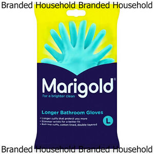 MARIGOLD LONGER BATHROOM RUBBER LATEX GLOVES GREEN COTTON LINED LARGE 1 PAIR
