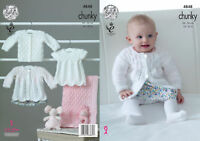 King Cole Baby Chunky Knitting Pattern Matinee Coat Top Cardigan & Blanket 4848