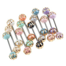 12x Colorful Ball Tongue Nipple Bar Ring Barbell Body Jewelry Piercing 16G