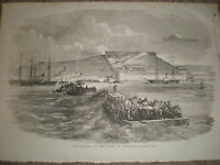Crimea war Turkey army lands Yenikale Kerch Ukraine 1855 old print