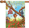 Toland Poppies & Birdhouses 28 x 40 Welcome Spring Bird Floral House Flag