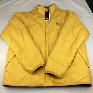 Adidas Reversible Quilted Sherpa Yellow Grey Jacket GF0053 Full Zip Men's Size L