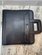 New Listingfranklin Covey Day One Black Simulated Leather Zip Binder Planner With Handles