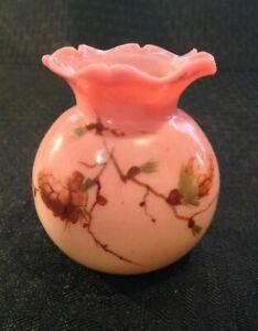 Antique Webb & Sons Queens Burmese Hand Painted Mini Ruffled Top Very Rare Gloss