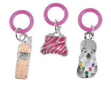 "3 Girls Enamel Pencil Charms Purse Cell Phone Flip Flop Pink Jewlery 1/2"" Craft"