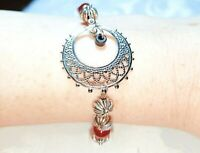 Silver Red White Gypsy Boho Filigree Beaded Bracelet New! ~EugeniaM Designs~