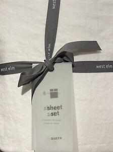 west elm european flax linen queen sheet set in white