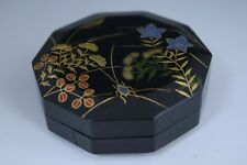 Japanese Lacquerware AUTUMN FLOWERS Makie Incense Container for Tea Ceremony 106