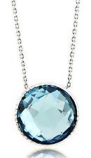 14k Oro Blanco Diseñador Piedra Preciosa collar con una Azul Topacio solitario