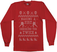 Threadrock Men's Hockey Ugly Christmas Sweater Long Sleeve T-Shirt Gift