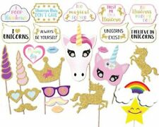 Glitter Gold Unicorn Photo Booth Props Kit Girl Birthday Party Supplies- 26count