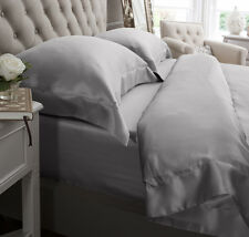 Jasmine Silk 4PCs 100% Charmeuse Silk Duvet Cover Set Grey - King