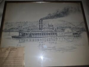 SIGNED City of LOUISVILLE Steamboat J. FRANKLIN BROWN print PERSONALIZED 1968
