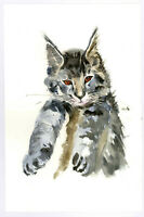 """Original Watercolor Painting 9 x 6"""" Pretty Calico Cat Not ACEO"""