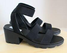 Steve Madden Haidar Ankle Strap Block Heel Sandal Size 10 Black NEW