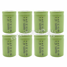 8 pcs NiMH 4/5 SubC Sub C 1.2V 1600mAh Rechargeable Battery Cell Flat Top Green