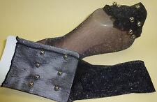 1 x Damen transparent Stulpen Söckchen Socken Lurex silber schwarz Perlen NEU