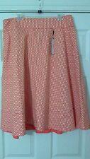 NWT Orange & White Polka Dot Modernist Circle Skirt Lane Bryant Size 16
