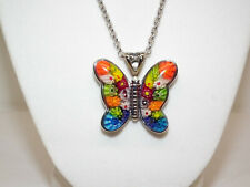 "Murano Millefiori Glass Butterfly Pendant w/Chain 24"" Stainless Steel NIB"