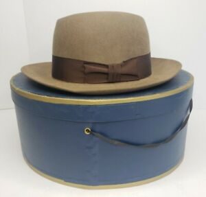 Lock & Co Brown Fedora Felt Hat Brooks Brothers Sz: 7 3/8 Made in England In Box