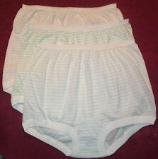 3 Pair 100% COTTON  BAND LEG PANTY Size 8 in Assorted Stripes U.S.A. Made