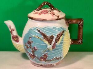 Rare Antique Majolica Teapot, Bird, Butterfly on Fan - Wardle c.1870's