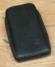 Genuine Vintage Texas Instruments Small Black Leather Zip Up Case / Pouch *READ*