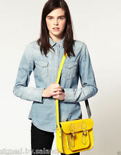"THE Leather Satchel società 11 ""Twin Pin Fibbia GIALLO Satchel Bag £ 100"