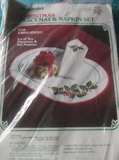 STAMPED FOR EMBROIDERY CHRISTMAS PLACEMAT & NAPKIN SET HOLLY SET OF 2