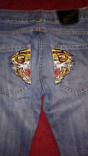 Ed Hardy Tiger Embroidered Pockets Button Up Jeans 32X34 By Christian Audigier