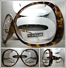 OVERSIZED EXAGGERATED VINTAGE RETRO Style Clear Lens EYE GLASSES Tortoise Frame