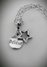 Silver Plated Cable Chain NECKLACE Kids Adults Charm BELIEVE STAR Gift