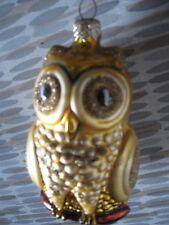 "Vintage Glass Gold Owl - Christmas Ornament 5"""