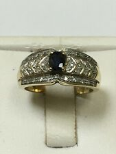 Lovely 9 Carat Yellow Gold DIAMOND & SAPPHIRE CLUSTER Ring