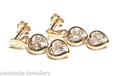 9ct Gold CZ double Heart Drop Earrings Gift Boxed