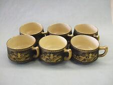 Japanese Black Satsuma tea set for six gold decoration