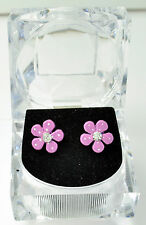 Pink Flower Earrings with Diamante Centre Crystal Style Acrylic Presentation Box