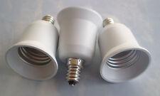 THREE White Adapters To use E26 E27 Standard Bulbs in a  E12 Candelabra socket
