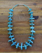 Turquoise Nugget Bead Necklace Sterling Silver