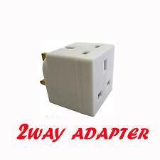 2 Way 3 Pin Plug Double Wall Mains Adapter Adaptor 13a 250vac