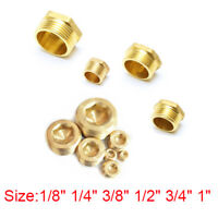 "1/8"" 1/4"" 3/8"" 1/2"" 3/4"" 1"" Brass Hex Plug Cap Socket Pipe Tube Thread Fitting"